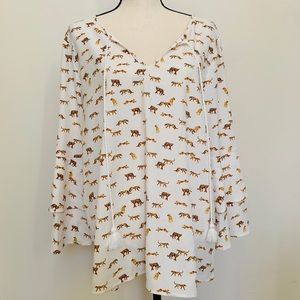 Kensie | Cheetah Peplum Sleeve Blouse
